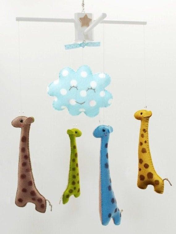 Musical Baby Mobile GIRAFFE LANE (custom color)  hand-painted details both sides - Art Mobile for Modern Nursery Decor, Baby Crib, Playroom