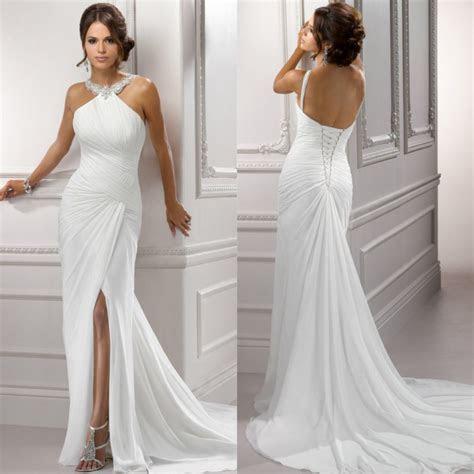Simple Backless Wedding Dresses   Dresscab