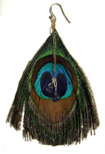 Kim Gilby Gold-filled peacock feather earrings