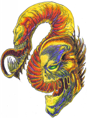 Dark Demonic Devil Serpent Felt Tip Sketch