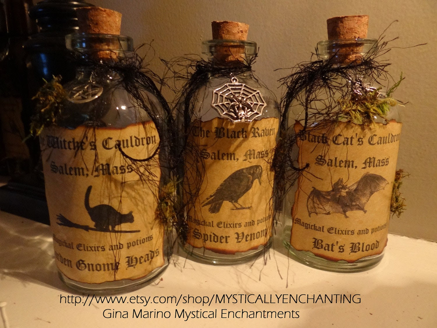 Primitive Style Halloween Witch SPELL Potion Bottle- Set of 3