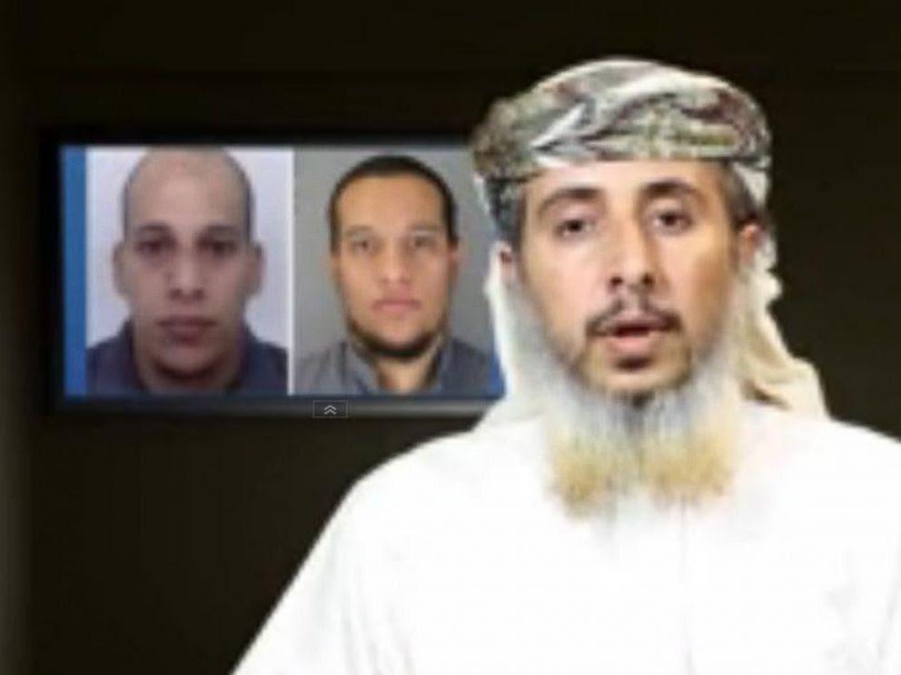 FOTO: A al Qaeda de alto perfil no membro Península Arábica (AQAP) reivindicou em um vídeo que o seu grupo dirigido e financiado a 07 de janeiro de 2015 atentado terrorista em Paris.