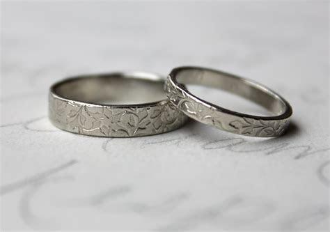 rustic vine wedding band ring set . 14k white gold leaf vine