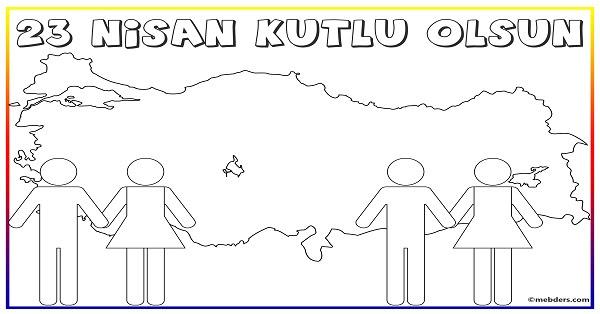 23 Nisan Türkiye Haritalı Boyama şablonu Meb Ders