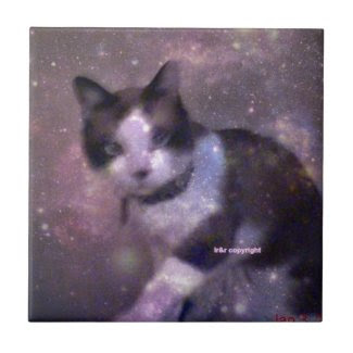 snowshoe kitty in the stars small square tile