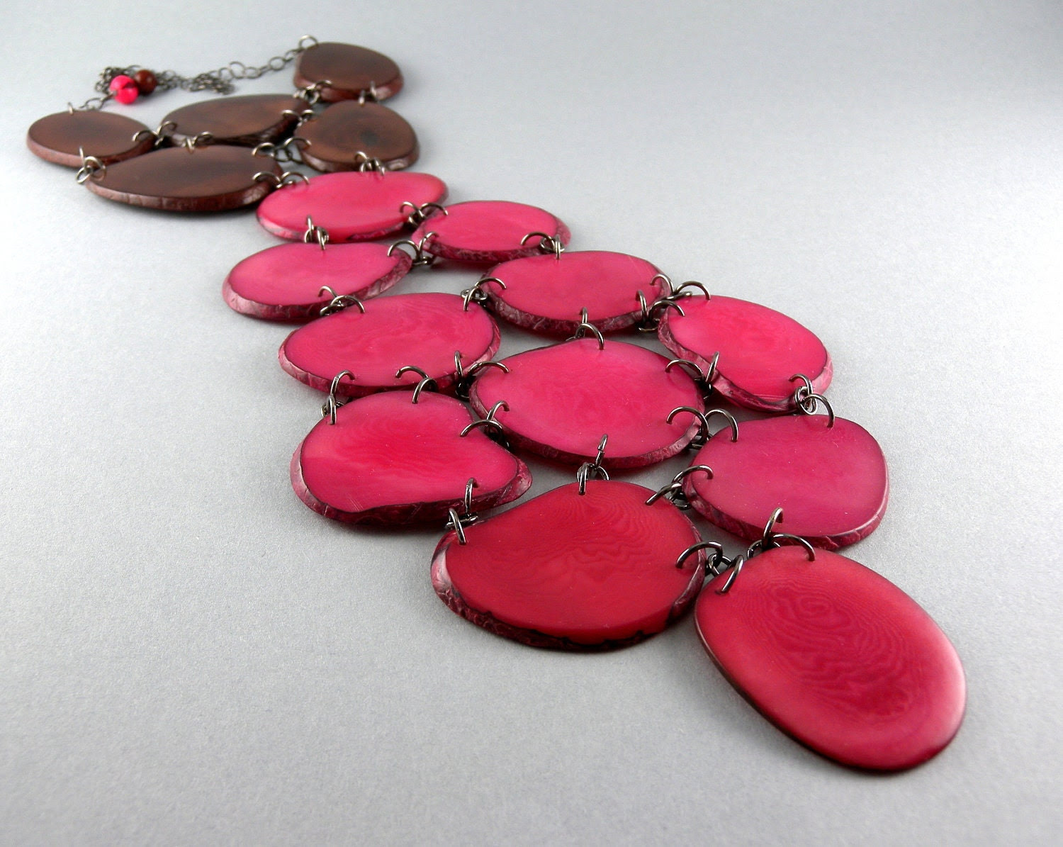 """Chocolate Cherry Eco Friendly Tagua Nut Tie Necklace with Free Shipping """"The Office"""" - decoratethediva"""