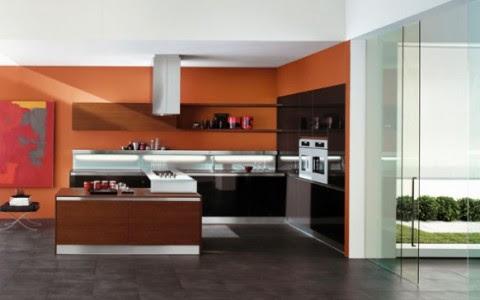 Modernas y sofisticadas cocinas en color naranja-04
