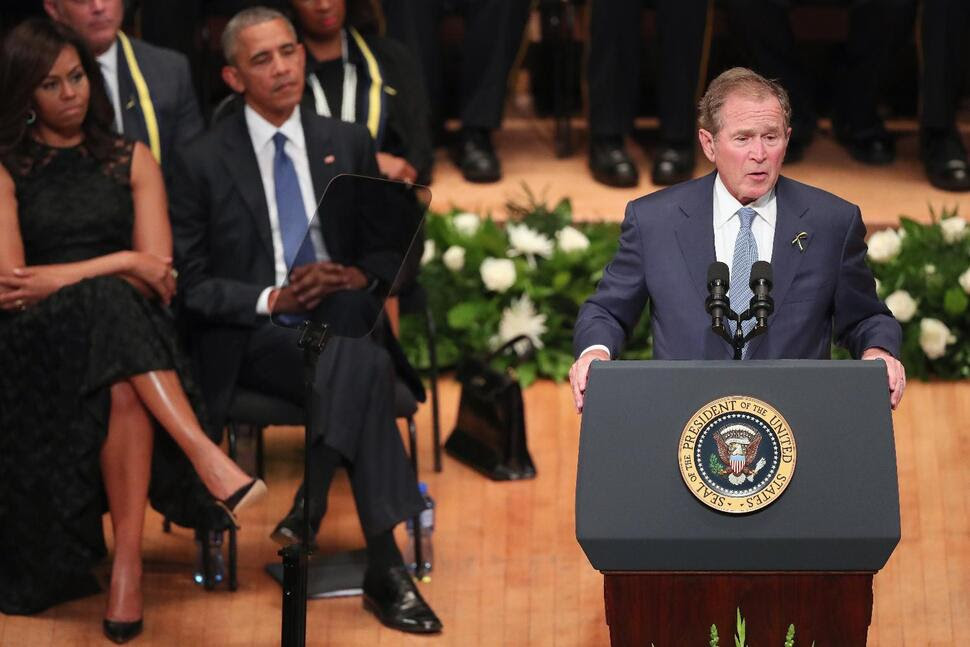 DALLAS, TX - JULY 12:  Former U.S. President George W. Bush delivers remarks during an interfaith memorial service, honoring five slain police officers, at the Morton H. Meyerson Symphony Center on July 12, 2016 in Dallas, Texas. A sniper opend fire following a Black Lives Matter march in Dallas killing five police officers and injuring 12 others.