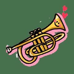 Lineスタンプvol2 吹奏楽で日常ブラバン楽器の仲間達 40種類