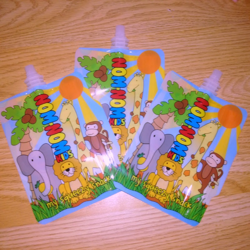 Nom Nom Kids Reusable Food Pouches in jungle animal design