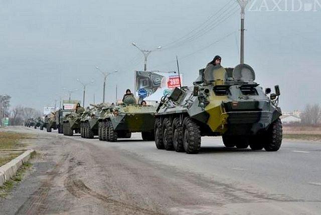Según una noticia de la página web Daily Mail, 12 de marzo de 2014, el ejército ruso ha congregaron 80.000 soldados, carros de combate y vehículos blindados de transporte de personal en sus fronteras con Ucrania. Un jefe de seguridad de alto nivel en Kiev, dijo que Moscú podría lanzar una invasión a gran escala y las tropas rusas sería en la capital ucraniana dentro de «dos o tres horas de la orden de avanzar