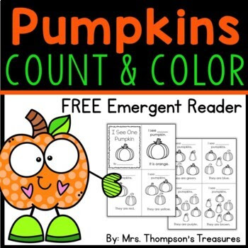 Pumpkin Count & Color Emergent Reader - Printable Student Book