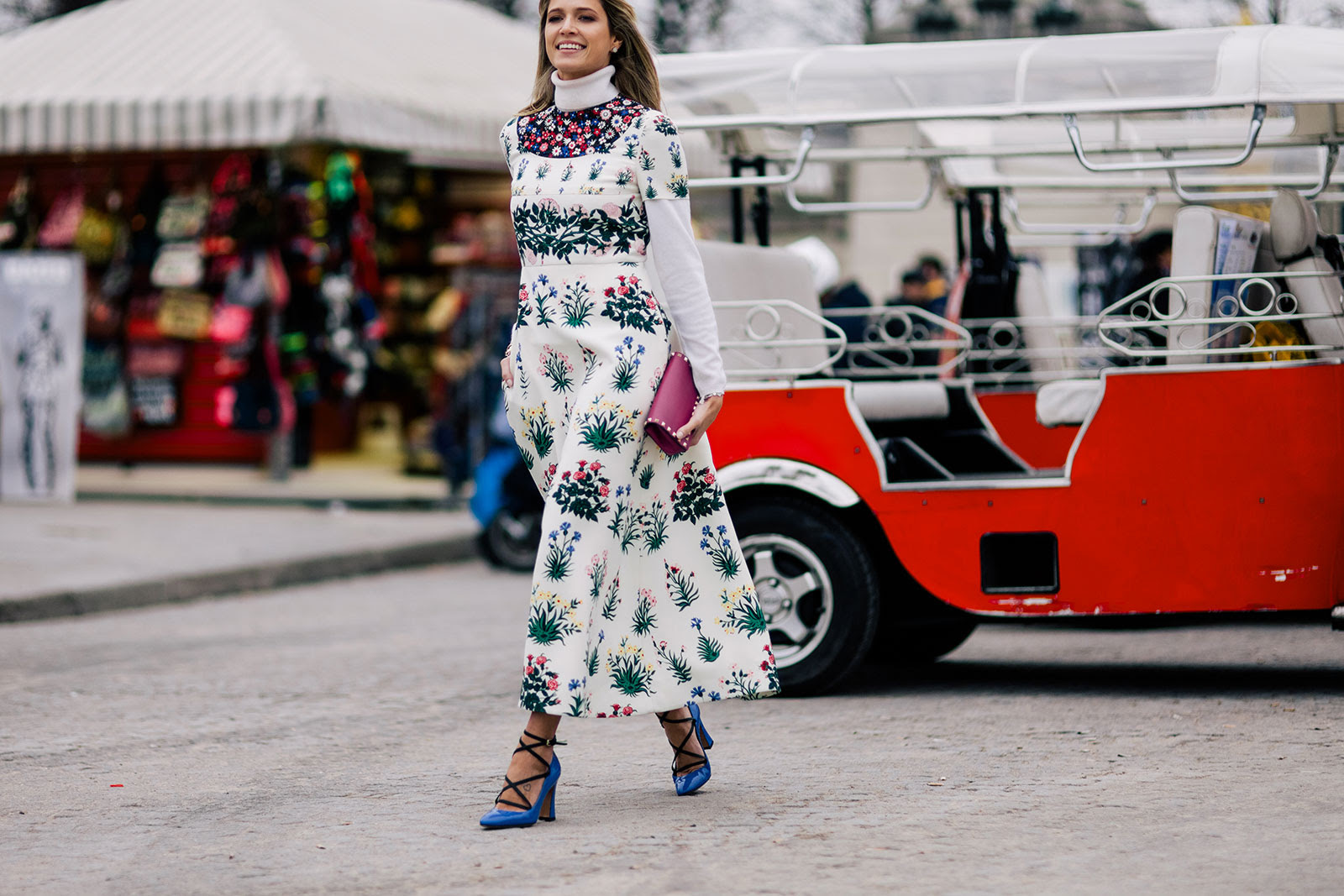 Helena Bordon wearing a long floral Valentino dress, Valentino shoes and clutch bag before the Valentino Fall/Winter 2015-2016 fashion show at the Tuileries in Paris, France