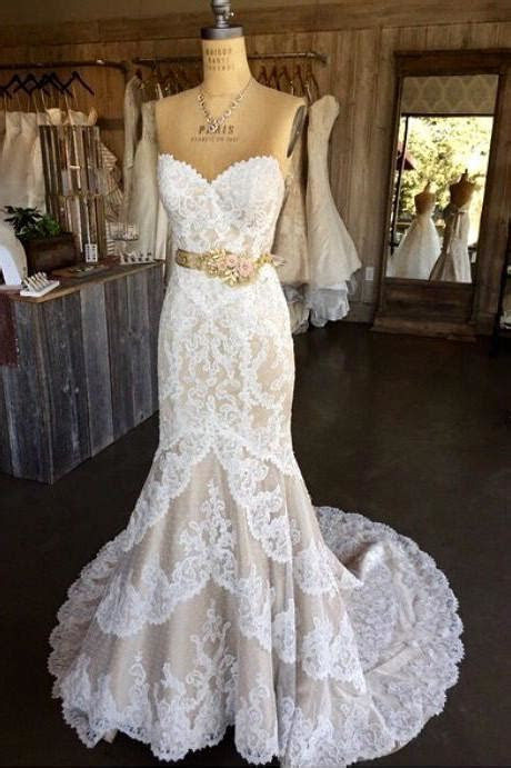 White Lace Mermaid Wedding Dress,Strapless Long Bridal