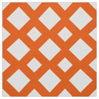 Geometric Orange Lattice on White Fabric
