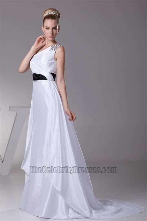 White One Shoulder A Line Wedding Dress With Black Belt