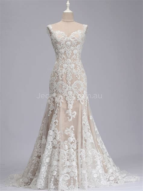 Sweetheart Neckline Beaded Straps Champagne Wedding Dress