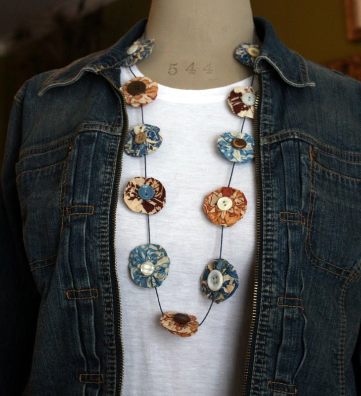 Unique Vintage Feedsack Yoyo and Button Necklace