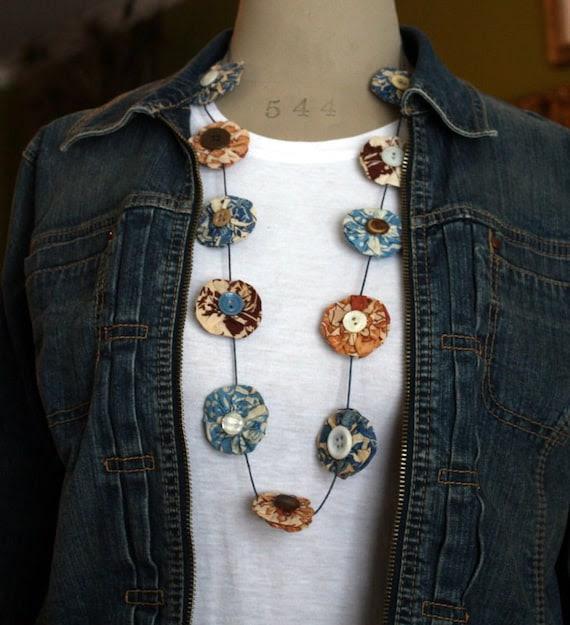 Unique Vintage Feedsack Yoyo and Button Necklace