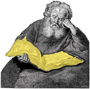Old man and yellow pages