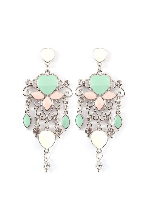 Mint + Pink statement earrings