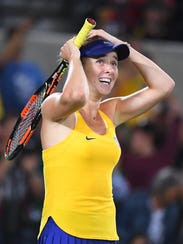 Elina Svitolina of Ukraine celebrates.