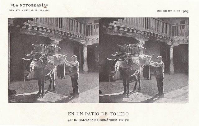 Patio de la Posada de la Sangre hacia 1903. Fotografía estereoscópica de Baltasar Hernández Britz. Cortesía de José Pedro Muñoz Herrera