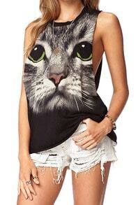 Black Round Neck Cat Print Loose Tank Top