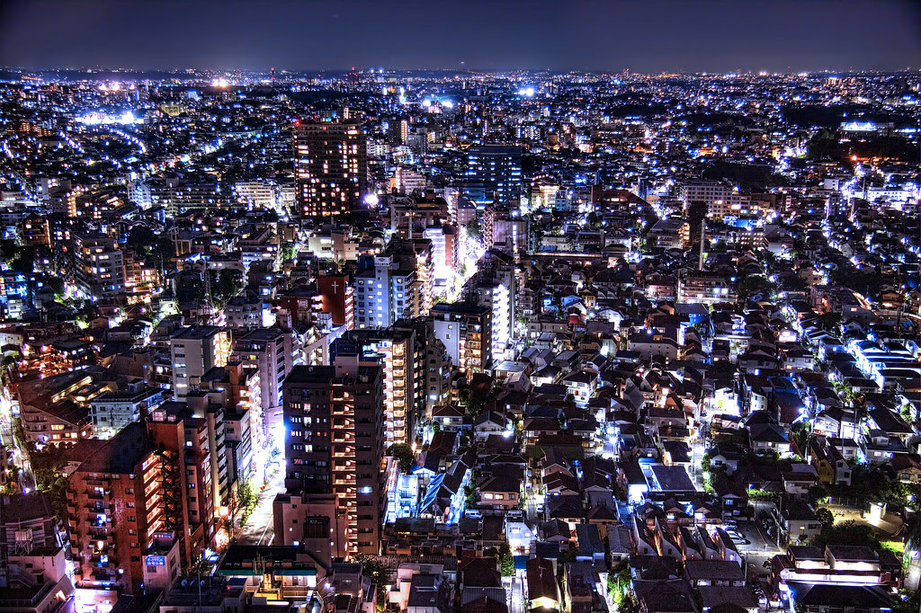 Tokyo Night From Above Taken From The Sunshine