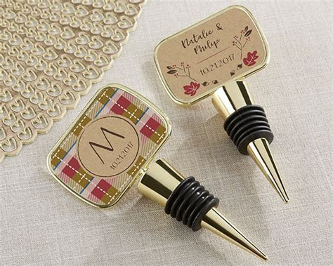 Personalized Fall Gold Wine Bottle Stopper Wedding Favors