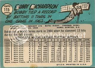 #115 Bobby Richardson (back)