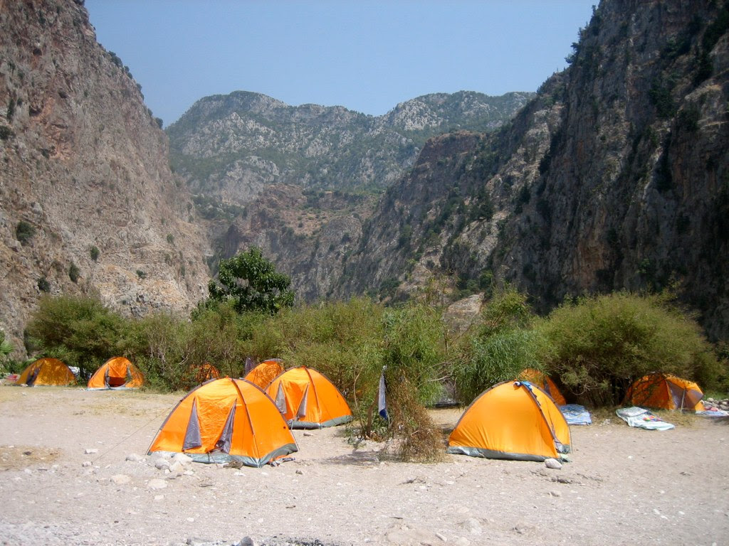 Tents on beach, Butterfly Valley