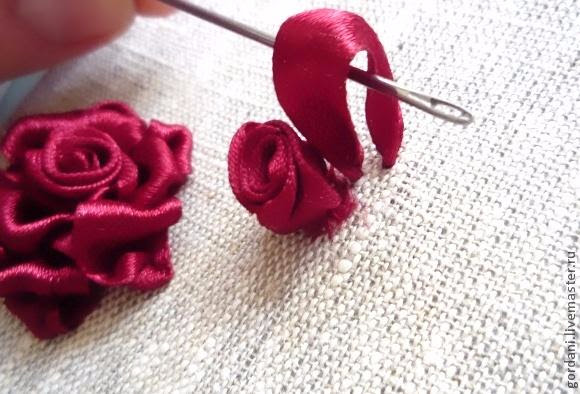 Rose flower.  ribbon embroidery (20) (580x394, 217Kb)