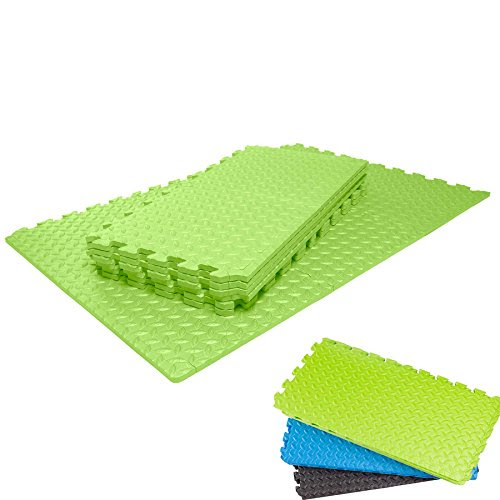 Floor protection mats »MiniPuzzle« Gym Fitness Sports Aerobics Yoga Exercise mat from #DoYourFitness / Interlocking Set of 18 with sizes 30 x 30 x 1,2 cm (approx. 2,2m²) Soft Foam Puzzle Tiles to protect the floor from scratches, ditches, dents, cold, noise and liquid / Green