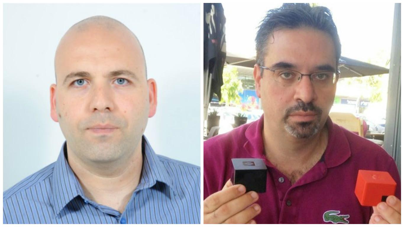 Left: Rabeeh Khoury holding SolidRun computers. Photo: courtesy Right:Kossay Omary. Photo via LinkedIn