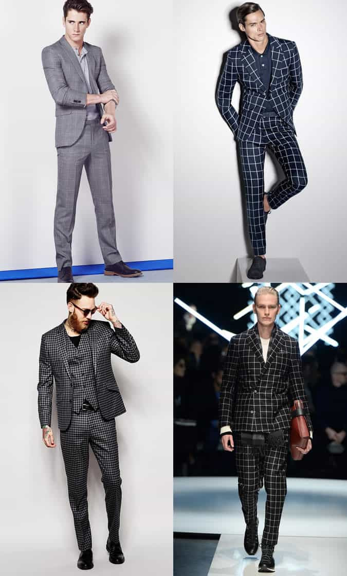 Men's Checked Suits and Plain T-Shirts/Polo Shirts Outfit Inspiration Lookbook