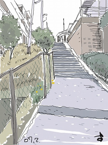 パソコンでお絵描き Illustration Blog 坂道の町 No335