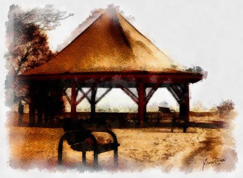Park Bench And Gazebo in Couchiching Beach Park, Orillia