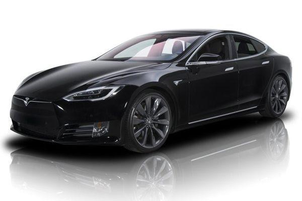 A black Tesla Model S.