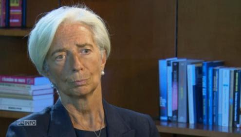 Christine Lagarde na entrevista à TV suíça.