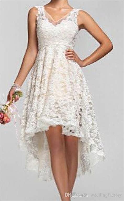 2016 Plus Size High Low Wedding Dresses Vintage Lace V