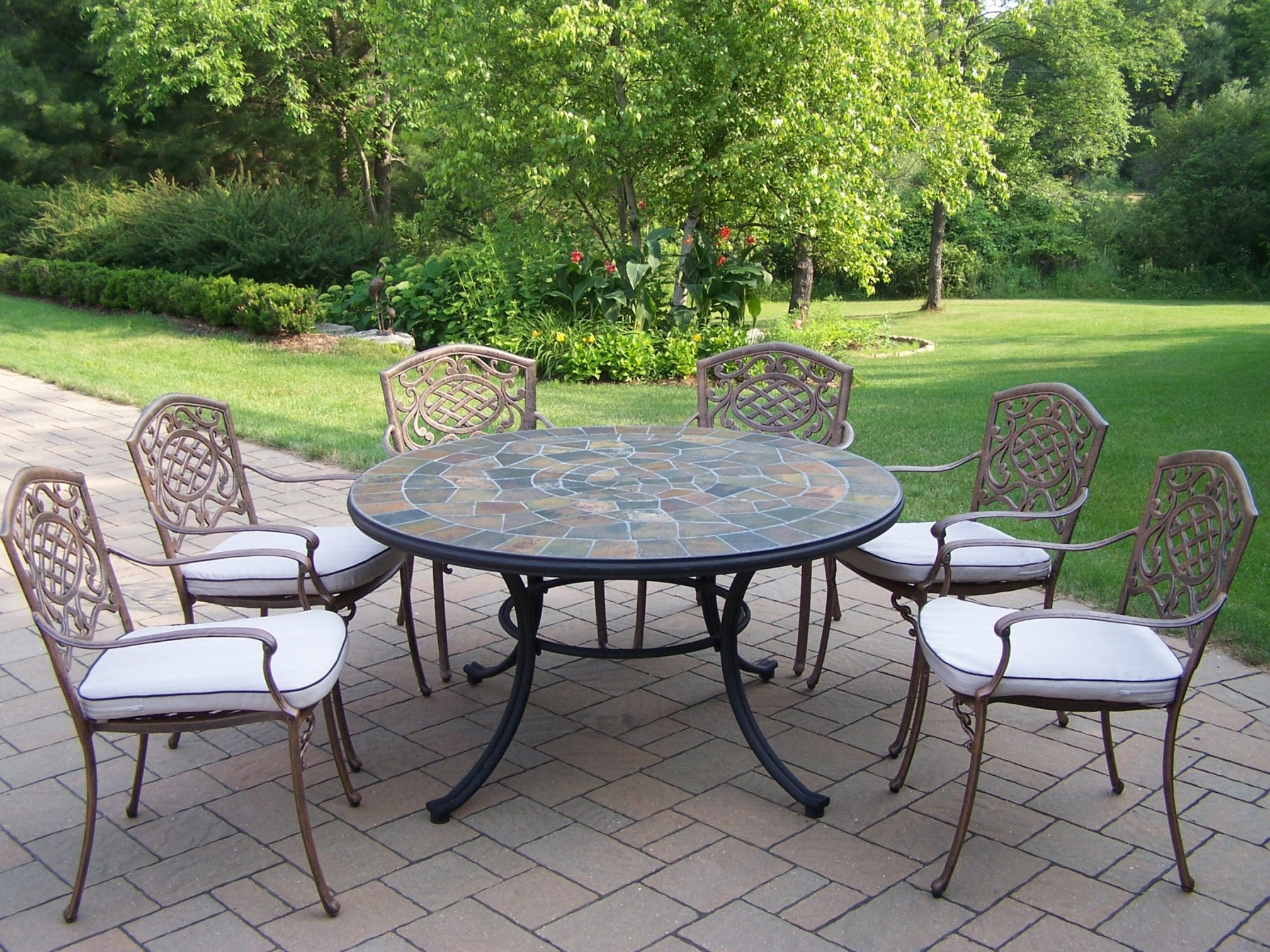 """Oakland Living 7 Pc. Patio Dining set w/ 54"""" Stone topped ..."""