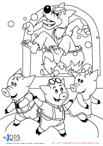 The Big Bad Wolf in the Fireplace Coloring Page - Fun ...