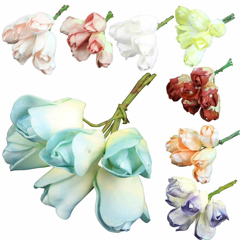 6x Bunches of 6 Foam Tulips! Wholesale Artificial Flowers Fake Bridal Bulk  eBay