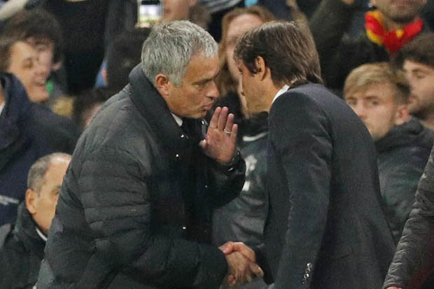 Image result for what mourinho said to conte after Chelsea man utd match