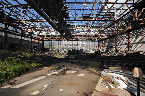 Part of the pipeline proposal requires its developer, the Williams Companies, to restore abandoned aircraft hangars at Floyd Bennett Field in Brooklyn, like this one.