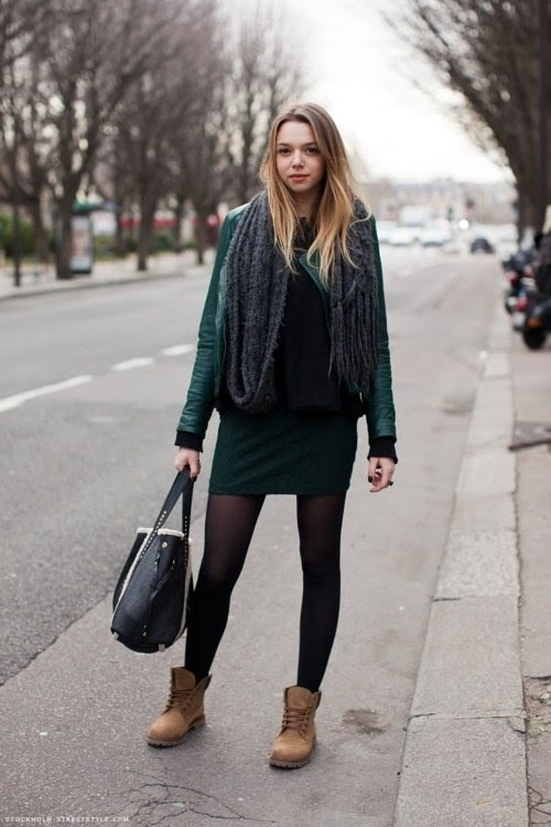 with a dress  7 streetstyle ways to wear timberlands  …