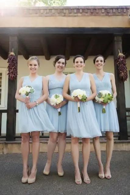 serenity blau über dem Knie-Brautjungfern-Kleider mit breiten Trägern