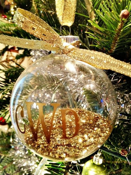 fill clear ornaments with glitter add monogram