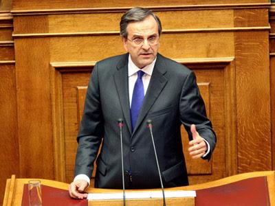 El primer ministro griego, Antonis Samarás, en el Parlamento. EFE